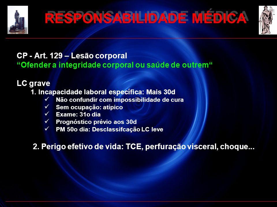 RESPONSABILIDADE MÉDICA CP - Art. 129 – Lesão corporal Ofender a integridade corporal ou saúde de outrem LC grave 1. Incapacidade laboral específica: