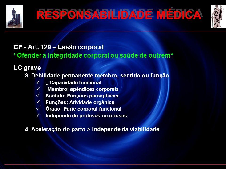 RESPONSABILIDADE MÉDICA CP - Art. 129 – Lesão corporal Ofender a integridade corporal ou saúde de outrem LC grave 3. Debilidade permanente membro, sen