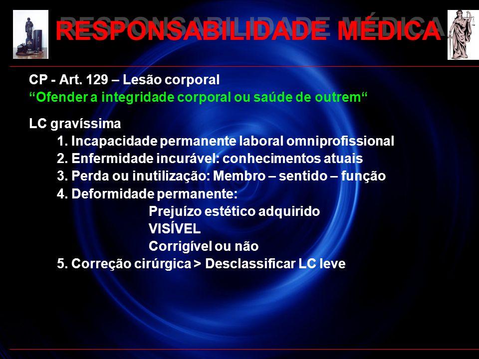RESPONSABILIDADE MÉDICA CP - Art. 129 – Lesão corporal Ofender a integridade corporal ou saúde de outrem LC gravíssima 1. Incapacidade permanente labo