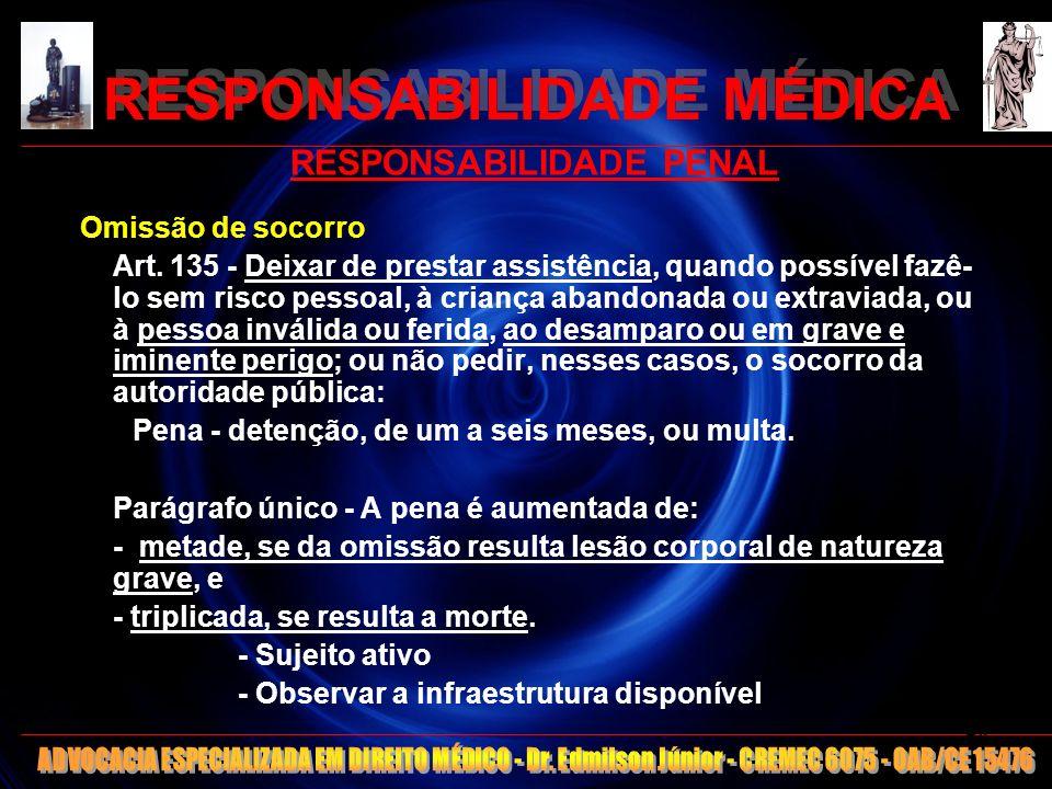 RESPONSABILIDADE MÉDICA RESPONSABILIDADE PENAL Omissão de socorro Art. 135 - Deixar de prestar assistência, quando possível fazê- lo sem risco pessoal