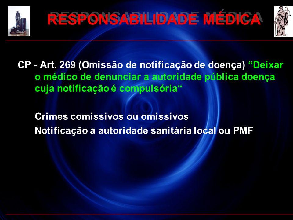 RESPONSABILIDADE MÉDICA CP - Art. 269 (Omissão de notificação de doença) Deixar o médico de denunciar a autoridade pública doença cuja notificação é c