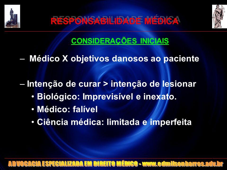 RESPONSABILIDADE MÉDICA CONSIDERAÇÕES INICIAIS – Médico X objetivos danosos ao paciente –Intenção de curar > intenção de lesionar Biológico: Imprevisí
