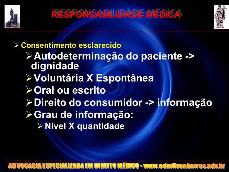RESPONSABILIDADE MÉDICA Consentimento esclarecido Autodeterminação do paciente -> dignidade Voluntária X Espontânea Oral ou escrito Direito do consumi