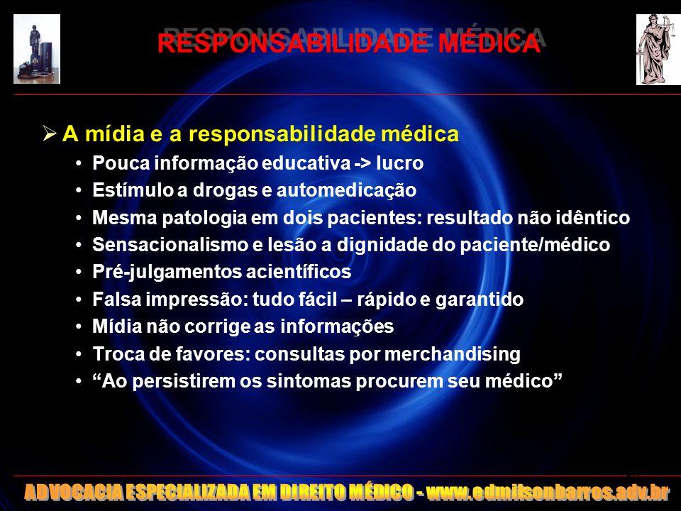 RESPONSABILIDADE MÉDICA A mídia e a responsabilidade médica Pouca informação educativa -> lucro Estímulo a drogas e automedicação Mesma patologia em d