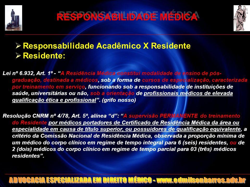 RESPONSABILIDADE MÉDICA Responsabilidade Acadêmico X Residente Residente: Lei nº 6.932, Art. 1º - A Residência Médica constitui modalidade de ensino d