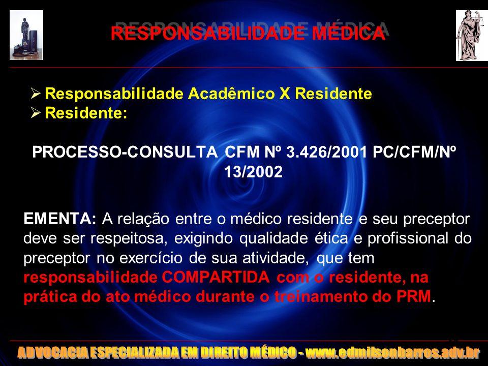 RESPONSABILIDADE MÉDICA Responsabilidade Acadêmico X Residente Residente: PROCESSO-CONSULTA CFM Nº 3.426/2001 PC/CFM/Nº 13/2002 EMENTA: A relação entr