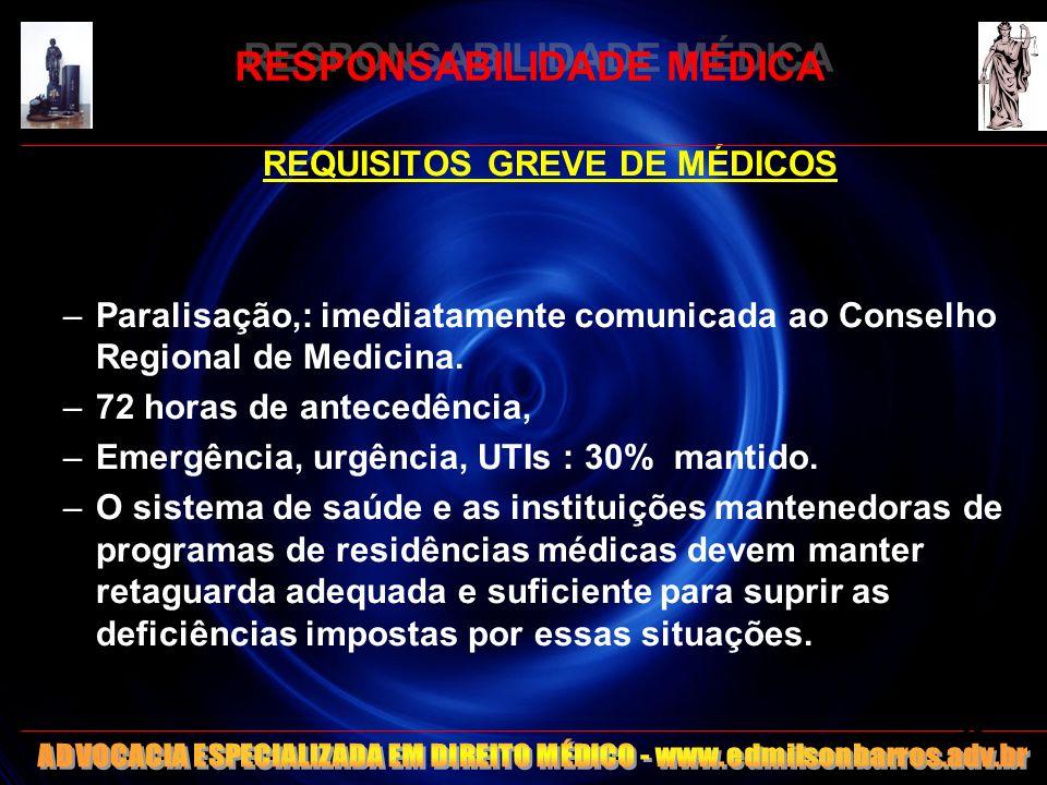 RESPONSABILIDADE MÉDICA REQUISITOS GREVE DE MÉDICOS –Paralisação,: imediatamente comunicada ao Conselho Regional de Medicina. –72 horas de antecedênci