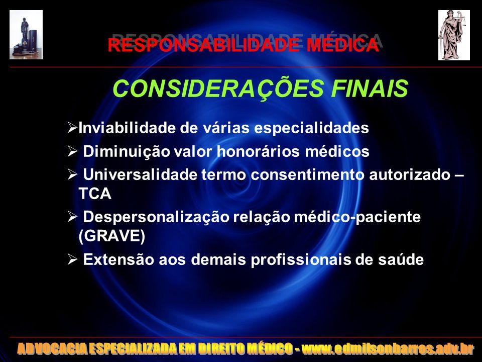 RESPONSABILIDADE MÉDICA CONSIDERAÇÕES FINAIS Inviabilidade de várias especialidades Diminuição valor honorários médicos Universalidade termo consentim