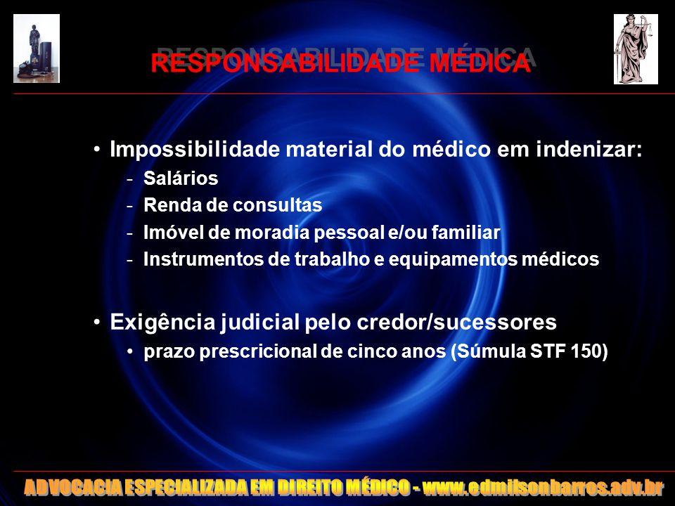 RESPONSABILIDADE MÉDICA Impossibilidade material do médico em indenizar: -Salários -Renda de consultas -Imóvel de moradia pessoal e/ou familiar -Instr