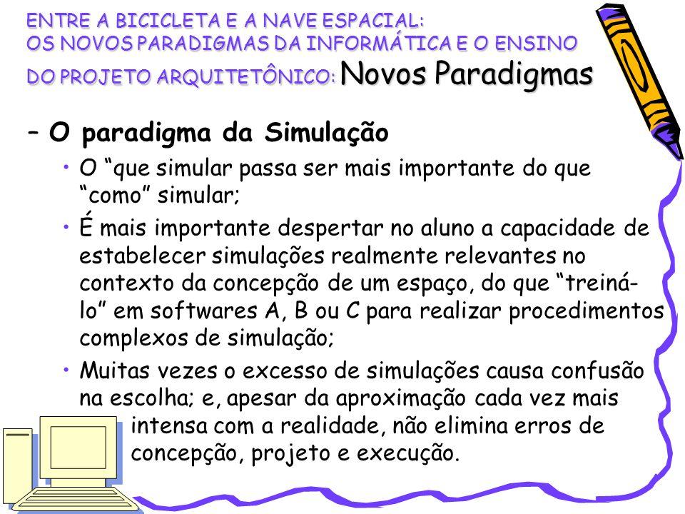 –O paradigma da Simulação O que simular passa ser mais importante do que como simular; É mais importante despertar no aluno a capacidade de estabelece