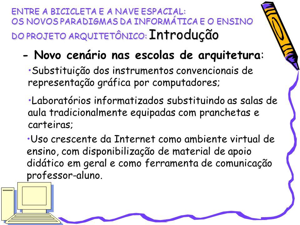 - Novo cenário nas escolas de arquitetura: Substituição dos instrumentos convencionais de representação gráfica por computadores; Laboratórios informa