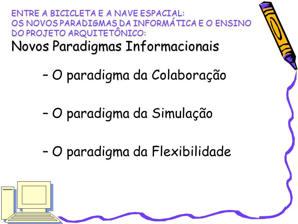 –O paradigma da Colaboração –O paradigma da Simulação –O paradigma da Flexibilidade ENTRE A BICICLETA E A NAVE ESPACIAL: OS NOVOS PARADIGMAS DA INFORM