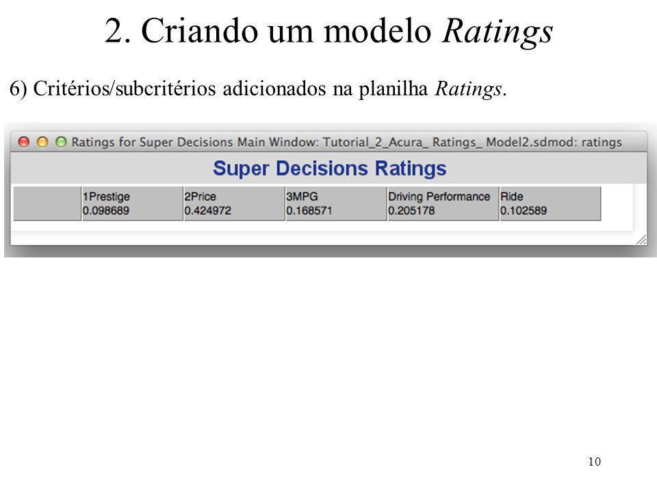 2. Criando um modelo Ratings 6) Critérios/subcritérios adicionados na planilha Ratings. 10