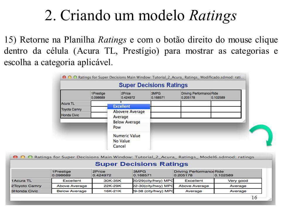 15) Retorne na Planilha Ratings e com o botão direito do mouse clique dentro da célula (Acura TL, Prestígio) para mostrar as categorias e escolha a ca