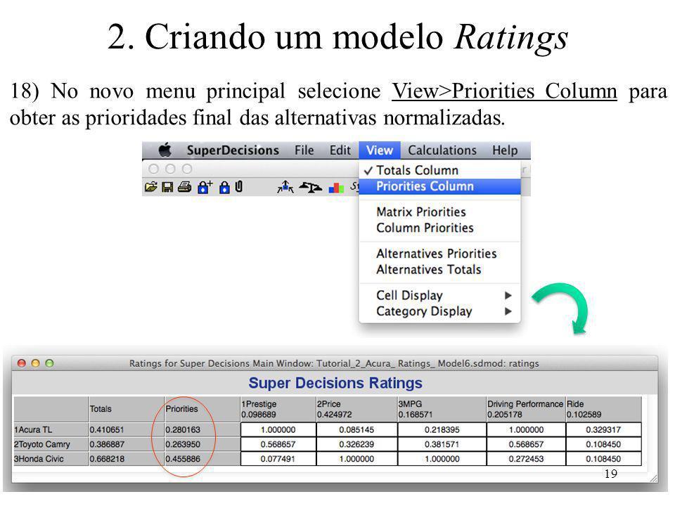18) No novo menu principal selecione View>Priorities Column para obter as prioridades final das alternativas normalizadas. 19 2. Criando um modelo Rat