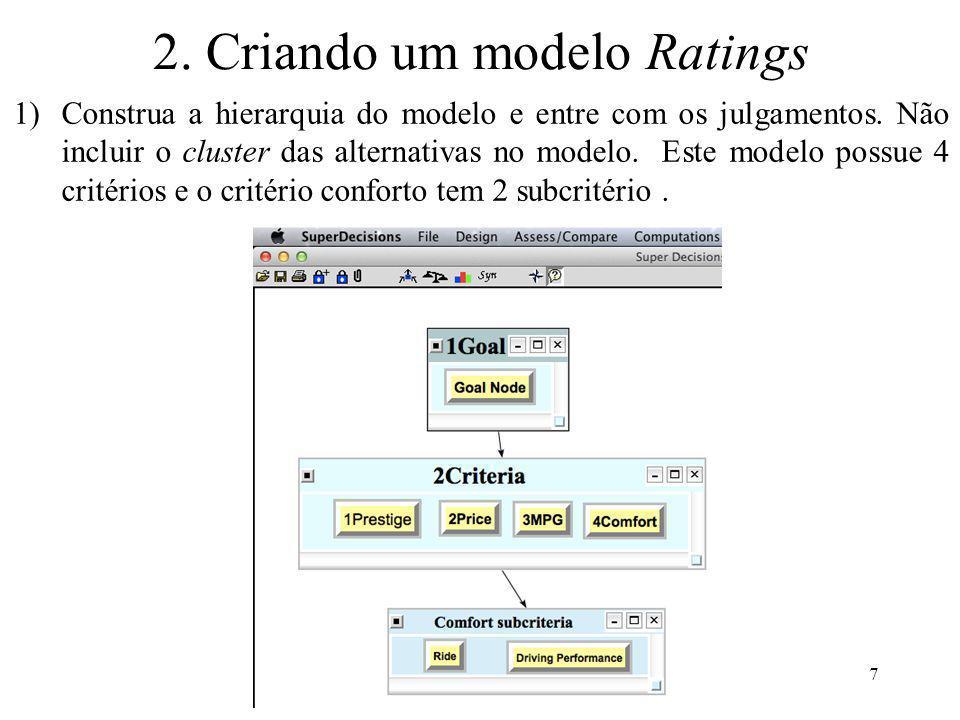 2. Criando um modelo Ratings 1)Construa a hierarquia do modelo e entre com os julgamentos. Não incluir o cluster das alternativas no modelo. Este mode