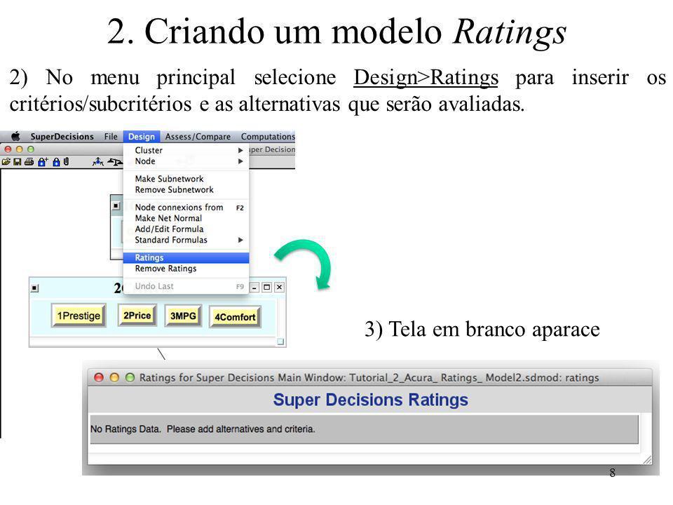2. Criando um modelo Ratings 2) No menu principal selecione Design>Ratings para inserir os critérios/subcritérios e as alternativas que serão avaliada