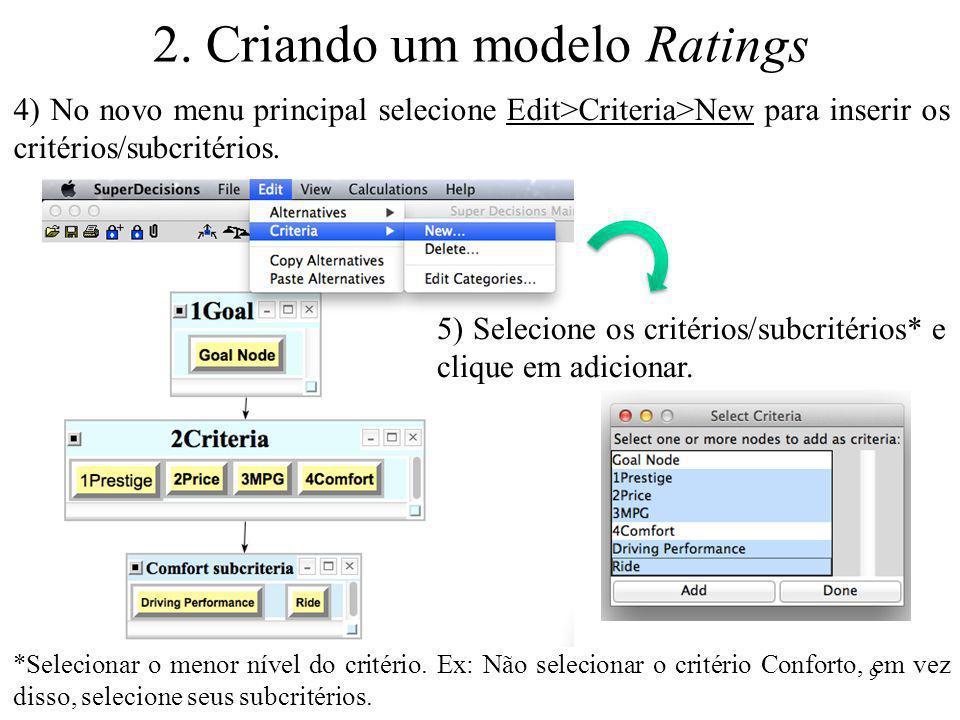 2. Criando um modelo Ratings 4) No novo menu principal selecione Edit>Criteria>New para inserir os critérios/subcritérios. 5) Selecione os critérios/s
