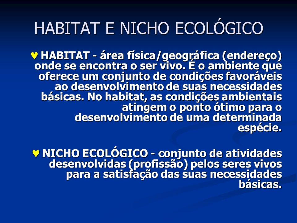 HABITAT E NICHO ECOLÓGICO HABITAT - área física/geográfica (endereço) onde se encontra o ser vivo. É o ambiente que oferece um conjunto de condições f