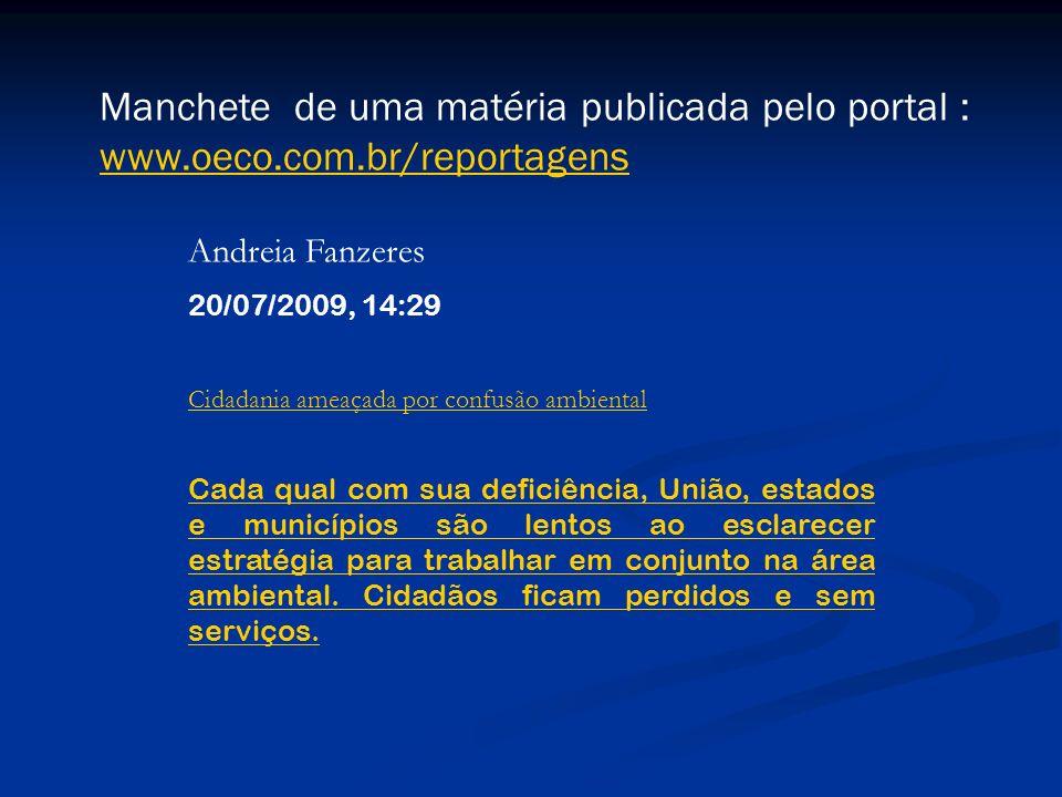 Cidadania ameaçada por confusão ambiental Andreia Fanzeres 20/07/2009, 14:29 Cada qual com sua deficiência, União, estados e municípios são lentos ao