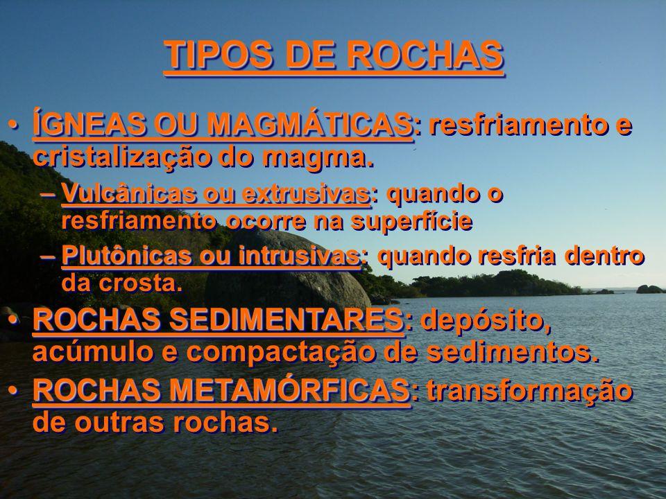 TIPOS DE ROCHAS ÍGNEAS OU MAGMÁTICASÍGNEAS OU MAGMÁTICAS: resfriamento e cristalização do magma. –Vulcânicas ou extrusivas –Vulcânicas ou extrusivas: