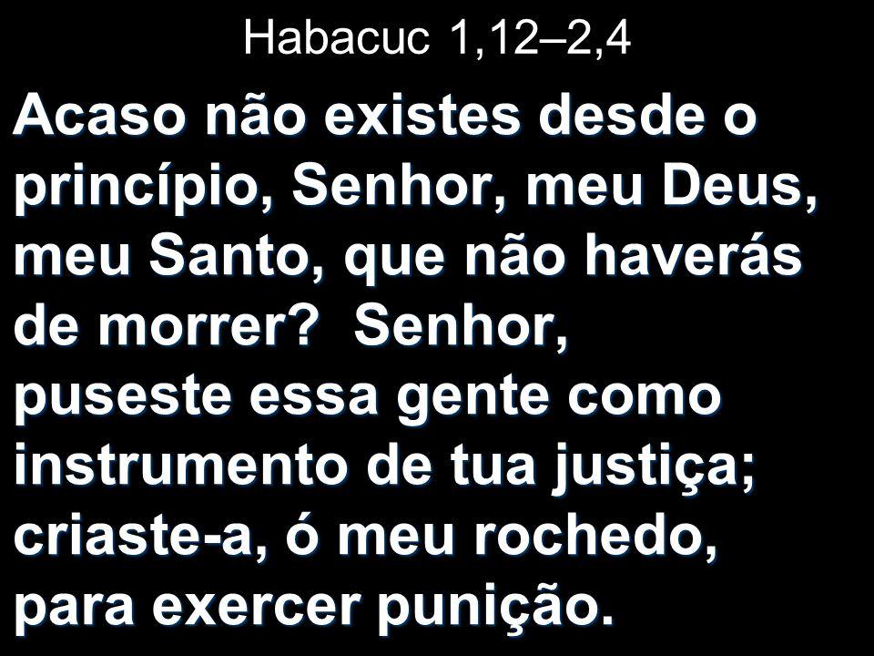 Habacuc 1,12–2,4 Acaso não existes desde o princípio, Senhor, meu Deus, meu Santo, que não haverás de morrer? Senhor, puseste essa gente como instrume