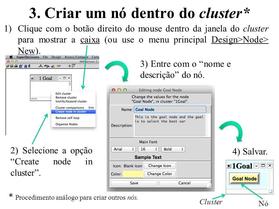 3. Criar um nó dentro do cluster* 1)Clique com o botão direito do mouse dentro da janela do cluster para mostrar a caixa (ou use o menu principal Desi