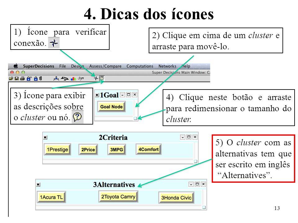 4. Dicas dos ícones 2) Clique em cima de um cluster e arraste para movê-lo. 1) Ícone para verificar conexão. 4) Clique neste botão e arraste para redi