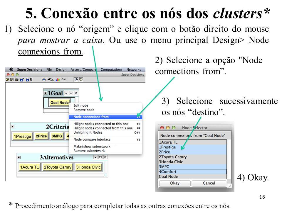 5. Conexão entre os nós dos clusters* 1)Selecione o nó origem e clique com o botão direito do mouse para mostrar a caixa. Ou use o menu principal Desi
