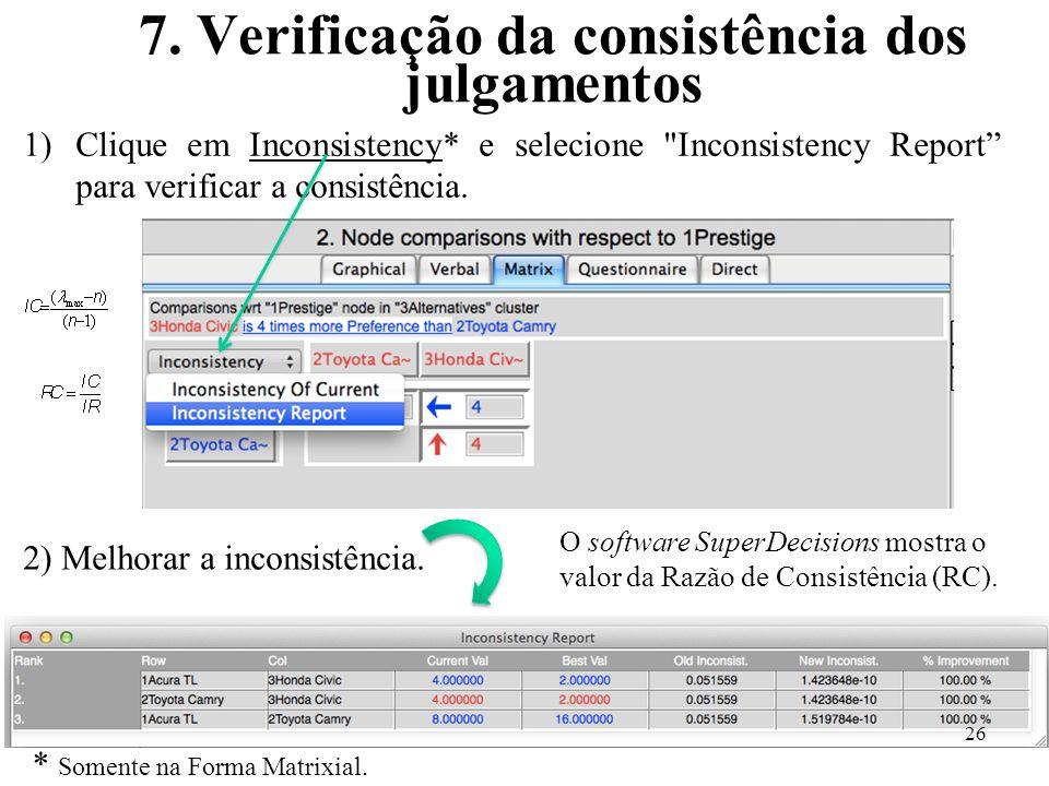 7. Verificação da consistência dos julgamentos 1)Clique em Inconsistency* e selecione