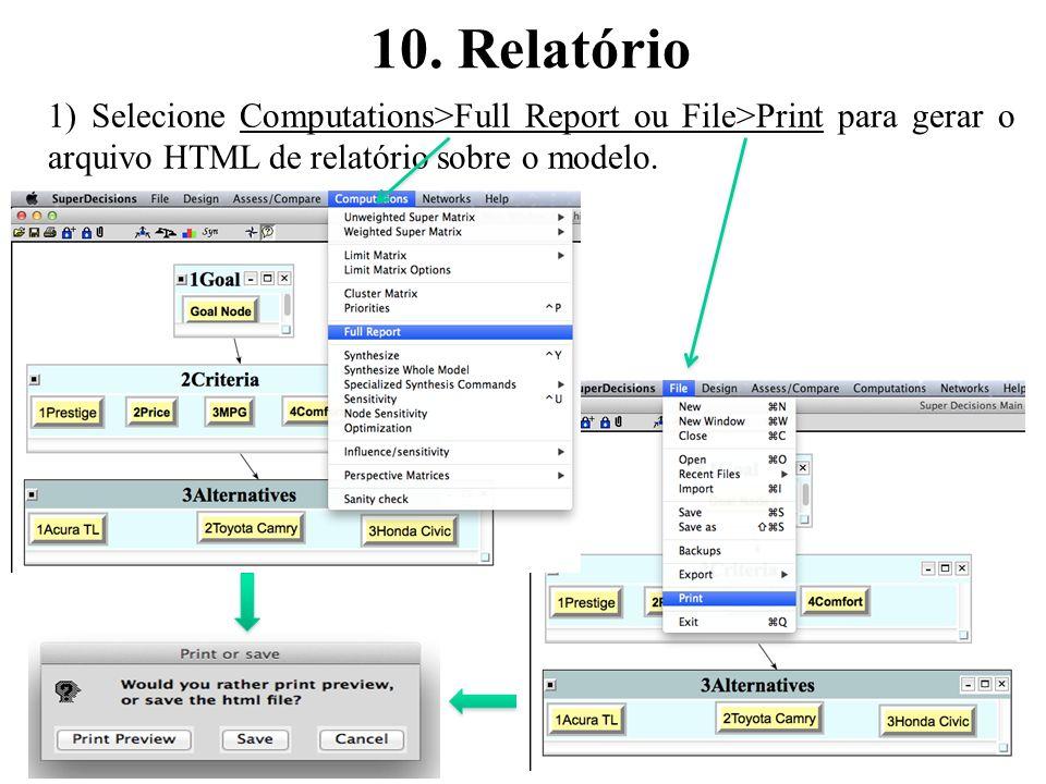 10. Relatório 35 1) Selecione Computations>Full Report ou File>Print para gerar o arquivo HTML de relatório sobre o modelo.