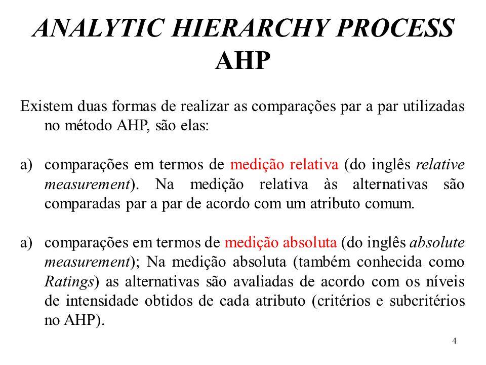 Existem duas formas de realizar as comparações par a par utilizadas no método AHP, são elas: a)comparações em termos de medição relativa (do inglês re