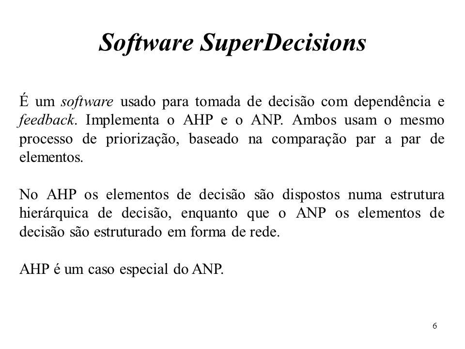 É um software usado para tomada de decisão com dependência e feedback. Implementa o AHP e o ANP. Ambos usam o mesmo processo de priorização, baseado n