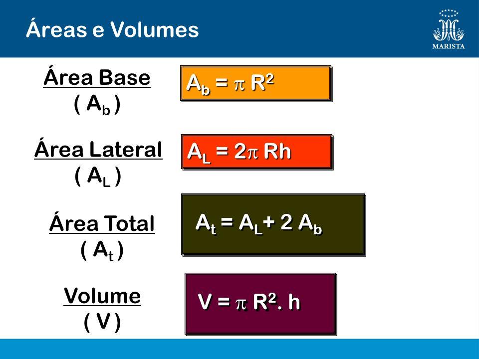Áreas e Volumes A L = 2 Rh A t = A L + 2 A b R 2 V = R 2. h Área Lateral ( A L ) Área Total ( A t ) Volume ( V ) A b = R 2 Área Base ( A b )