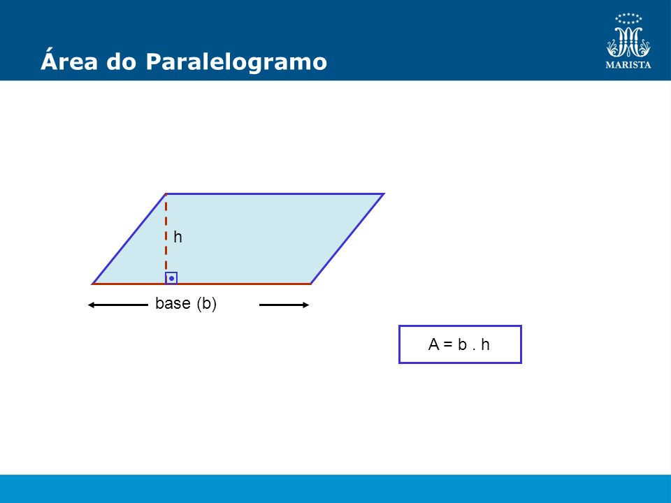 Área do Paralelogramo h A = b. h base (b)