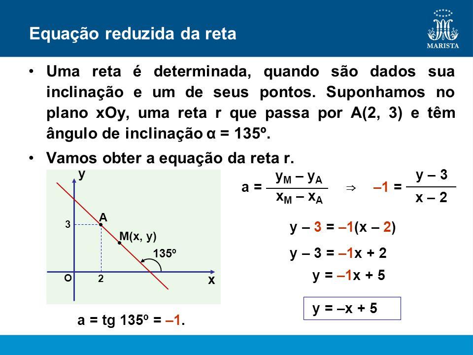 Equação reduzida da reta Uma reta é determinada, quando são dados sua inclinação e um de seus pontos. Suponhamos no plano xOy, uma reta r que passa po