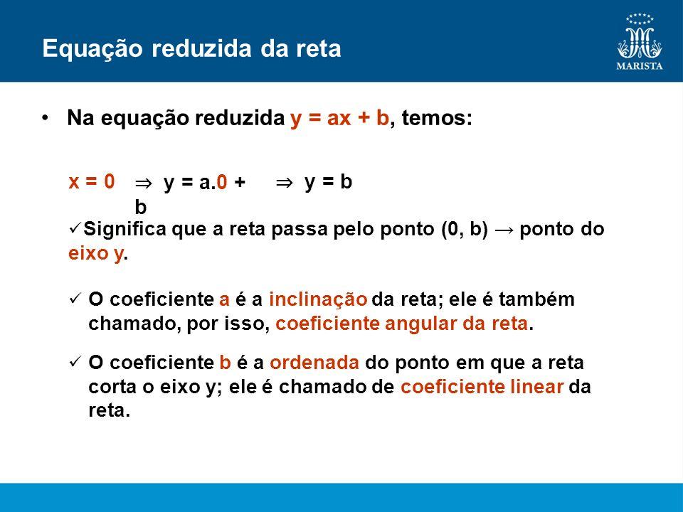 Equação reduzida da reta Na equação reduzida y = ax + b, temos: Significa que a reta passa pelo ponto (0, b) ponto do eixo y. x = 0 y = a.0 + b y = b