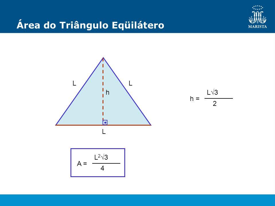 Área do Triângulo Eqüilátero L L L h h = L3 2 A = L23L23 4