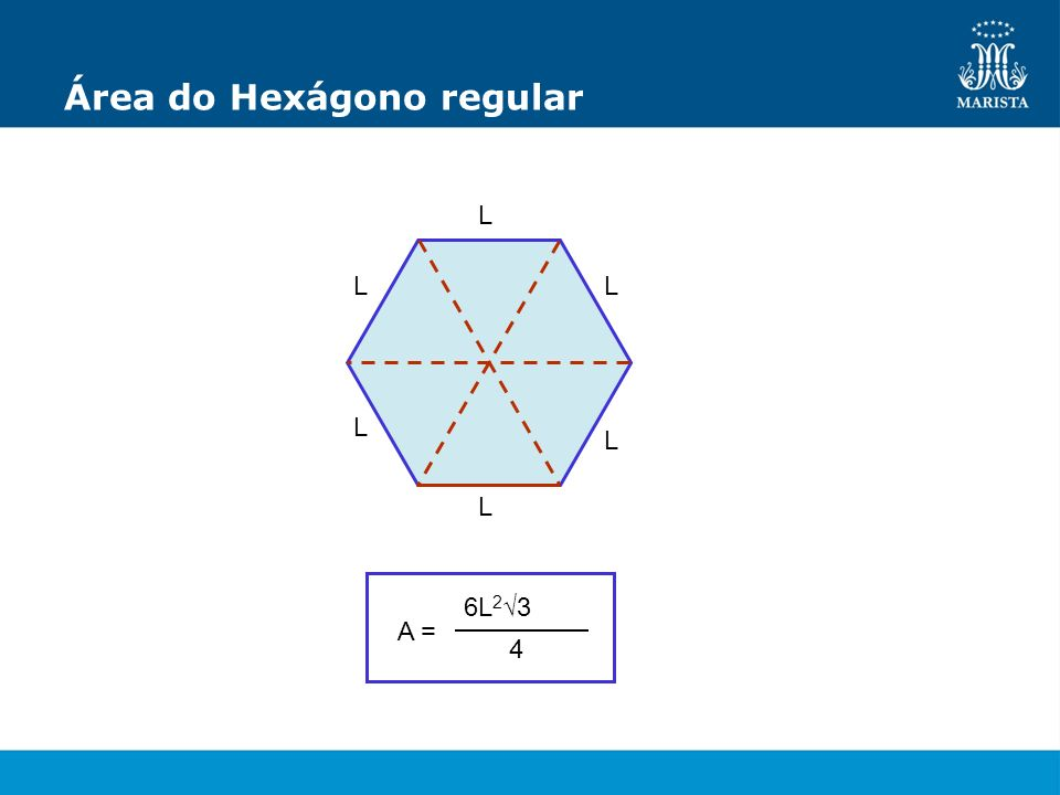 Área do Hexágono regular L L L L L L A = 6L 2 3 4