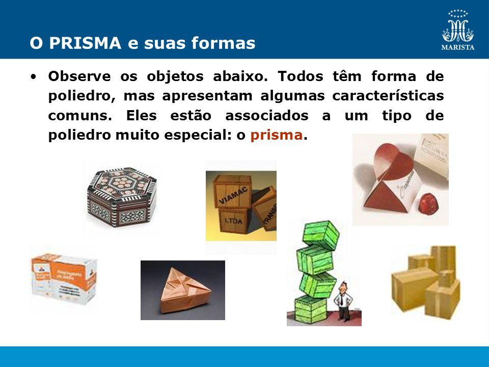 O PRISMA e suas formas Observe os objetos abaixo. Todos têm forma de poliedro, mas apresentam algumas características comuns. Eles estão associados a