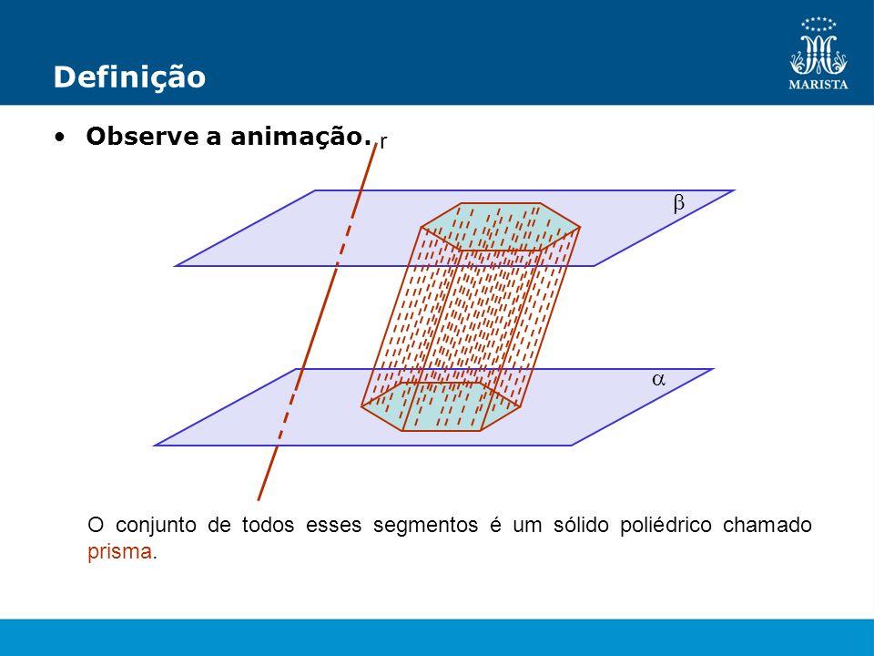 Definição Observe a animação. r O conjunto de todos esses segmentos é um sólido poliédrico chamado prisma.