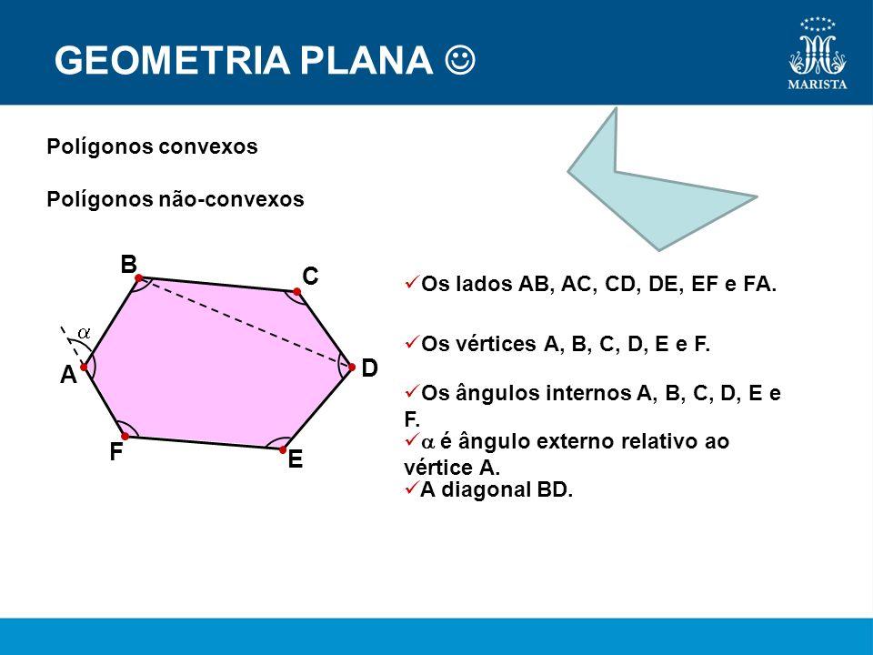 GEOMETRIA PLANA Polígonos convexos Polígonos não-convexos Os lados AB, AC, CD, DE, EF e FA. Os vértices A, B, C, D, E e F. Os ângulos internos A, B, C