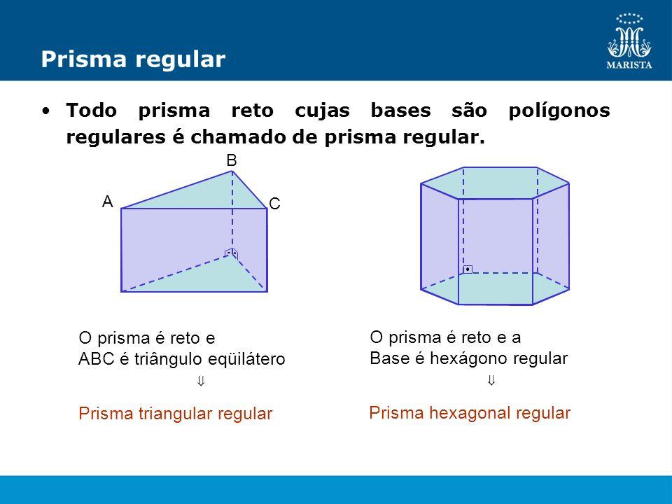 Prisma regular Todo prisma reto cujas bases são polígonos regulares é chamado de prisma regular. O prisma é reto e ABC é triângulo eqüilátero A B C Pr