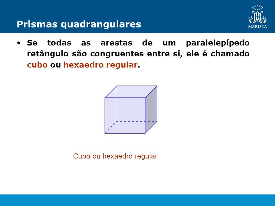 Prismas quadrangulares Se todas as arestas de um paralelepípedo retângulo são congruentes entre si, ele é chamado cubo ou hexaedro regular. Cubo ou he