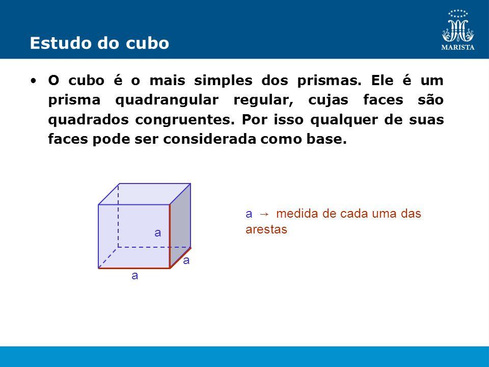 Estudo do cubo O cubo é o mais simples dos prismas. Ele é um prisma quadrangular regular, cujas faces são quadrados congruentes. Por isso qualquer de