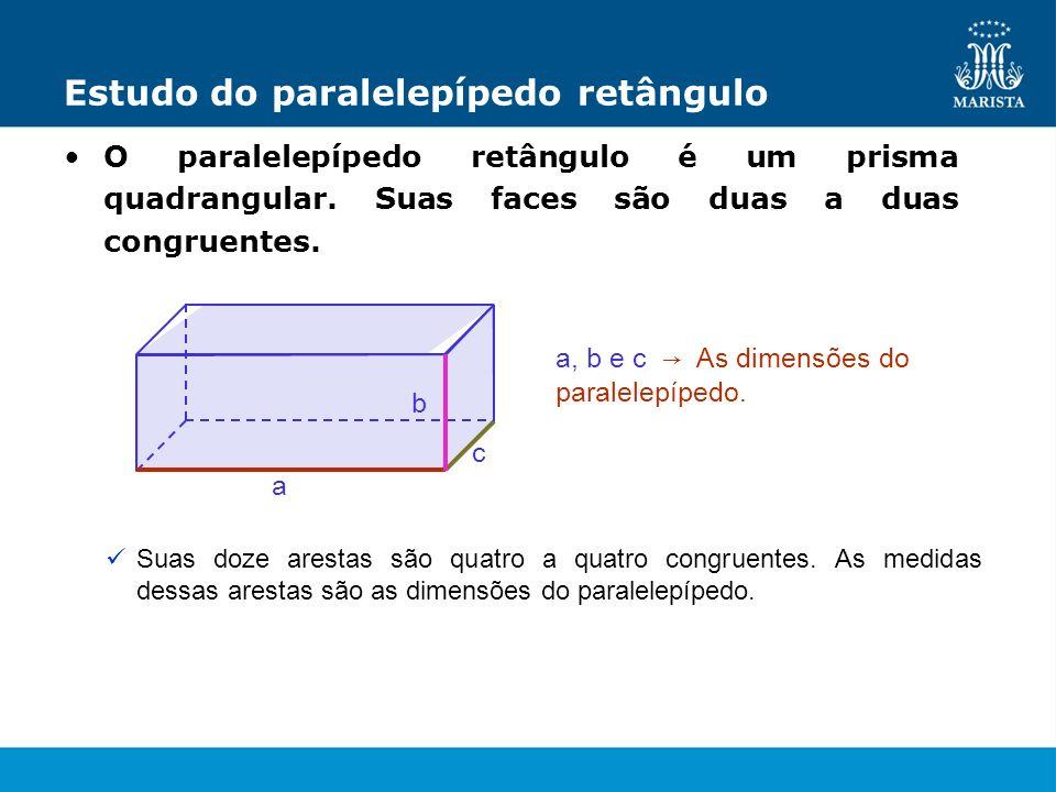 Estudo do paralelepípedo retângulo O paralelepípedo retângulo é um prisma quadrangular. Suas faces são duas a duas congruentes. a, b e c As dimensões
