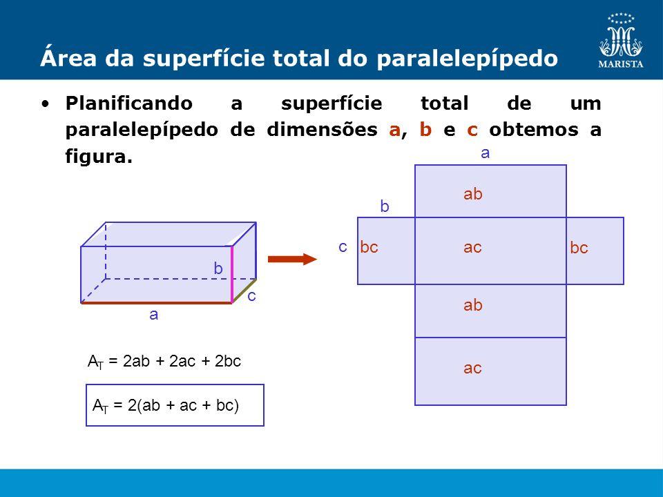 Área da superfície total do paralelepípedo Planificando a superfície total de um paralelepípedo de dimensões a, b e c obtemos a figura. a c b a b c ab