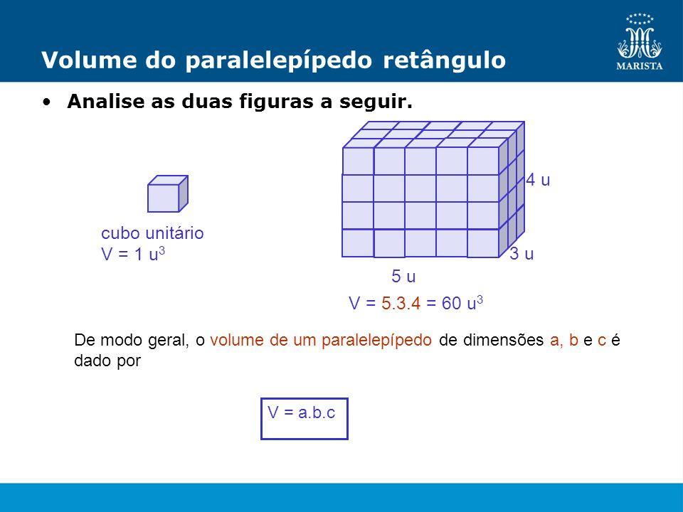 Volume do paralelepípedo retângulo Analise as duas figuras a seguir. cubo unitário V = 1 u 3 V = 5.3.4 = 60 u 3 5 u 3 u 4 u De modo geral, o volume de