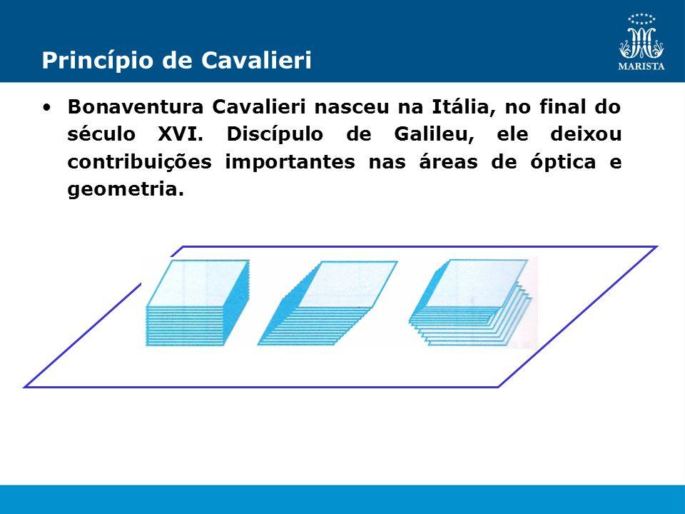 Princípio de Cavalieri Bonaventura Cavalieri nasceu na Itália, no final do século XVI. Discípulo de Galileu, ele deixou contribuições importantes nas