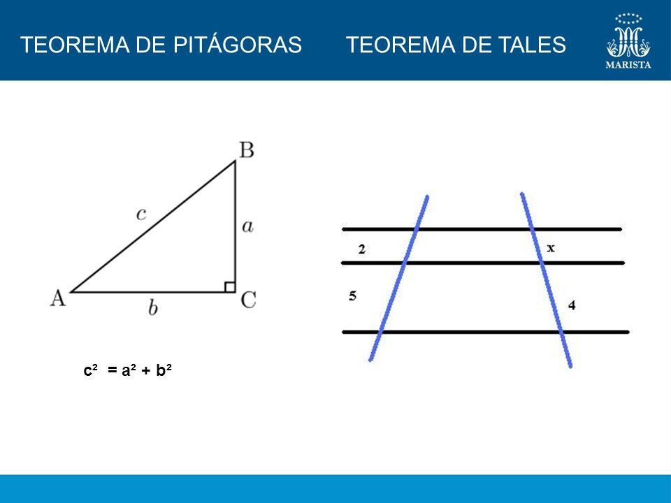 TEOREMA DE PITÁGORAS TEOREMA DE TALES c² = a² + b²